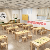 Solid wood go training table for primary and secondary school students tutoring class desks and chairs combination Pine chess table Cram school chessboard table
