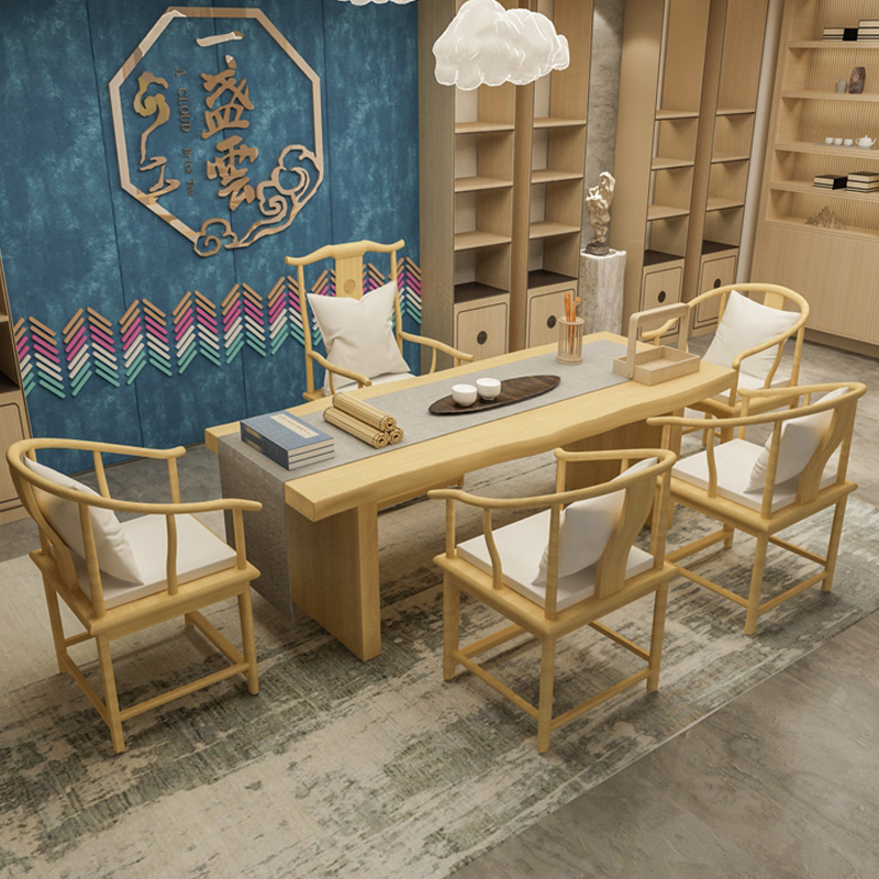 Chinese tea table and chair combination simple modern solid wood living room big class table tea table kungfu tea table dress-up supervisor table