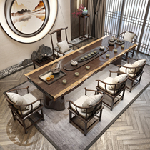 Wooden large board tea table Office solid wood tea table New Chinese kung fu tea drinking modern simple tea table and chair combination
