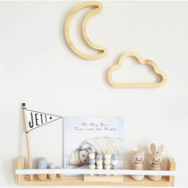 INS explosion children's room solid wood hollow clouds modelling ornaments small rabbit moon wall decoration creative Wall