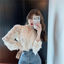 French vintage lace Hollow shirt blouse 2021 Autumn New Super fairy sweet long sleeve base shirt