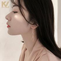 Cold wind earrings 2021 new tassel ear line female sterling silver earrings net red temperament long Korean earrings tide