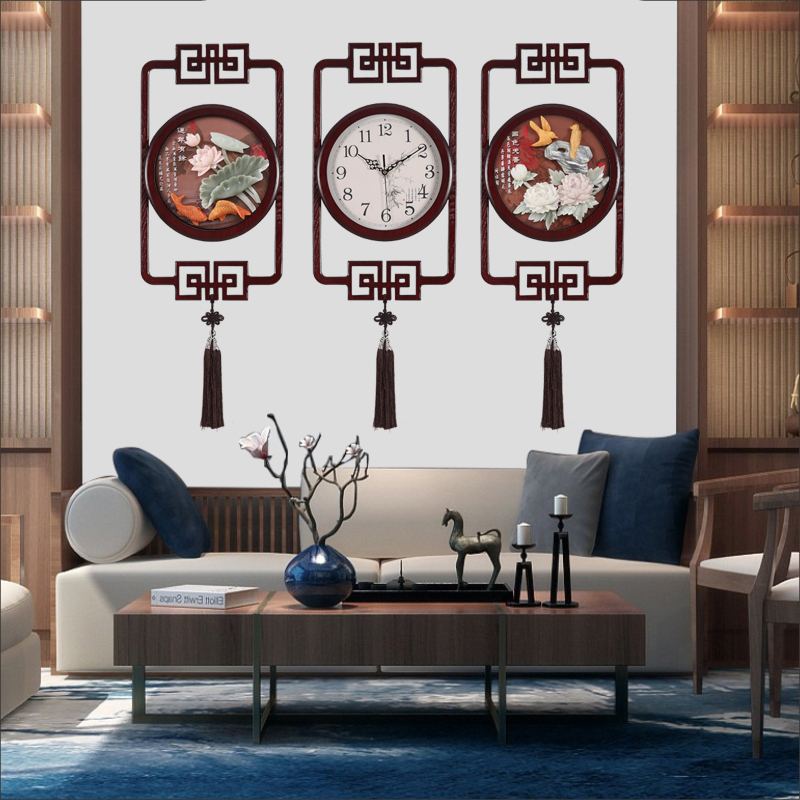 Bell 錶 wall clock living room Creative wall clock Chinese wind square clock New Chinese silent jade carving decorative quartz clock