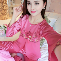 Summer Kuanmei red silk pajamas silk embroidered lovely lady