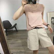 2021 summer new Korean breathable linen small camisole women wear sleeveless bottom top suit