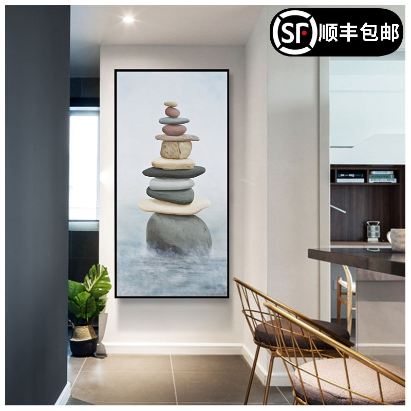 Nordic entrance porch decoration corridor fresco wallpaper atmospheric lucrative Fengshui art painting modern simplicity
