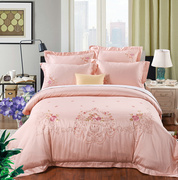 High-grade embroidery 60 cotton satin four piece Cotton Embroidered Pink Lace Wedding bedding