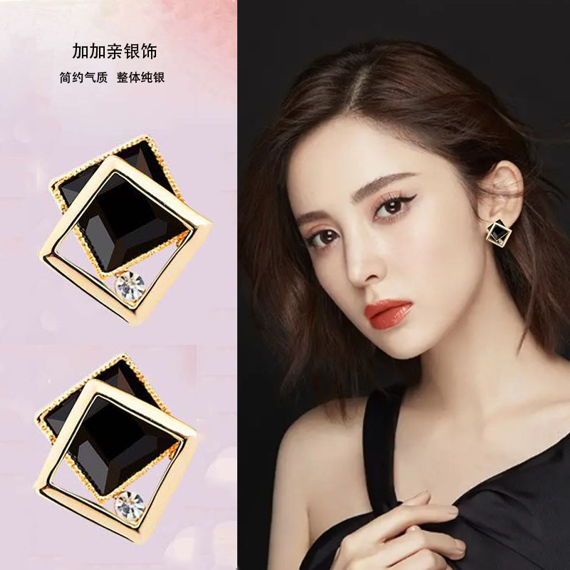 Earrings women s925 pure silver Korean high-quality temperament net red square agate earrings 2021 new trend ear accessories
