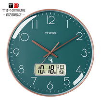 TIMESS clock watch wall clock Living room creative home fashion atmosphere hanging watch free hole light luxury silent radio clock