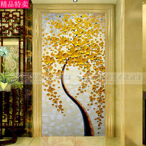 Modern Art glass into the background wall screen partition living room double carving craft oil painting fortune Tree
