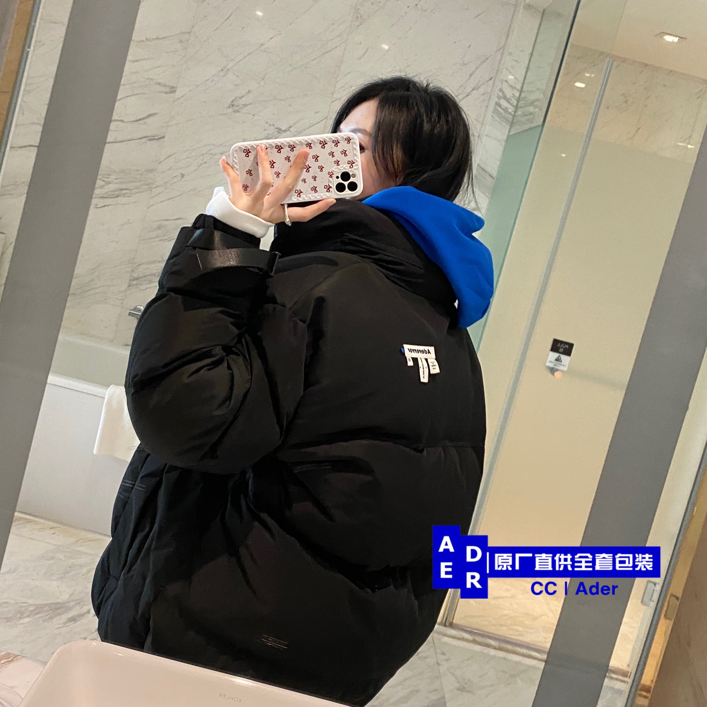 Spot) ADER ERROR 2020 mens and womens black loose 80 duck hair turtle back down jacket