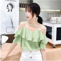 One-word shoulder top womens summer off-the-shoulder belly-covering t-shirt womens lotus leaf edge short-sleeved womens chiffon shirt womens summer 2020