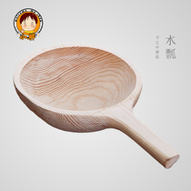 Whole solid wood made rice spoon not stained with rice fir large water scoop sauna wooden Scoop tea ceremony Scoop water spoon