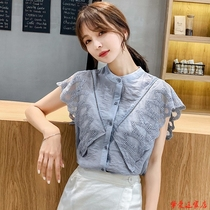 2020 new summer chiffon shirt womens short-sleeved top loose-fitting style lace top va