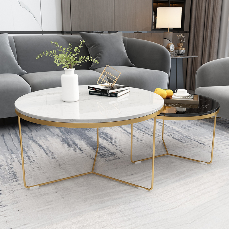 Nordic marble coffee table combination net red round tea table simple modern creative iron tea table small household type