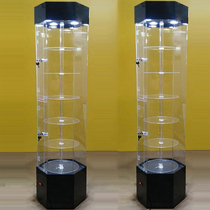 Rotating acrylic cosmetic glass display cabinet gifts jewelry products boutique dental phone sample showcase