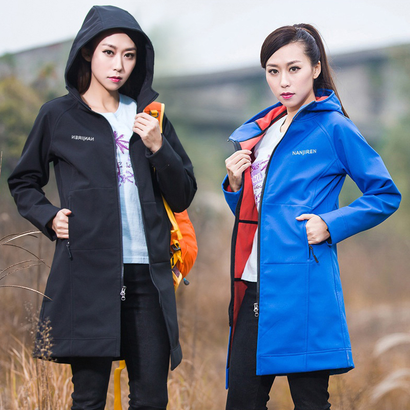 Medium long outdoor soft shell jacket female Korean version of the jacket women spring and autumn models thin mountaineering clothes women spring and autumn windbreaker