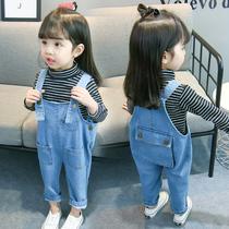Девушки стринги дети джинсы дети 2020 корейская версия девушки весенняя одежда комбинезоны женщины ребенок весна осень океан прилив