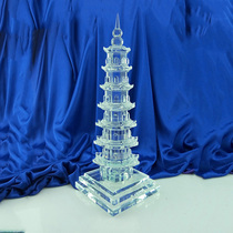 White Crystal 7 floor Wenchang Tower help business Wang academic study Decoration desk Open light feng shui decoration reminder Expensive