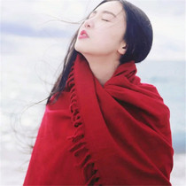 Red scarf girl in autumn and winter long padded collar wedding dress shawl Cape coat Korean version