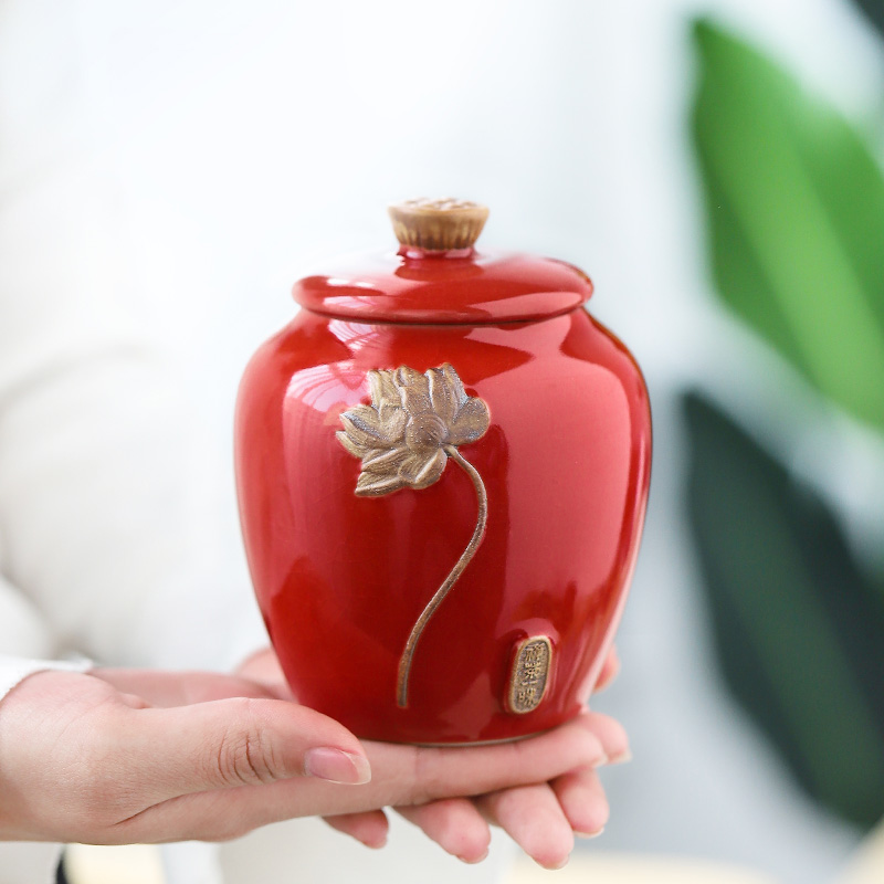Ceramic brother kiln open piece tea can household seal portable size storage tank moisture-proof Puer tea box