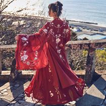 (More than thirteen cardamom children)Peony national color] Heavy embroidery large sleeve shirt Wedding dress jacket Hanfu womens clothing