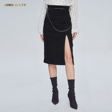 Miss Sixty 2019 New Autumn High-waist Printed Black Skirt Jean Skirt Half-length Skirt