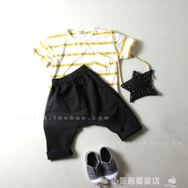 Boys cropped jeans spring summer new Korean casual girls solid color cotton pants baggy pants fan flashes big PP pants