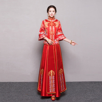 Xiu wo clothing 2017 new autumn and winter bride chinese wedding dress toast Dragon Coat married clothes cheongsam show Kimono
