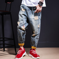 Workwear casual ripped jeans mens autumn winter style tide brand loose big size hip-hop beggar nine-point pants mens autumn