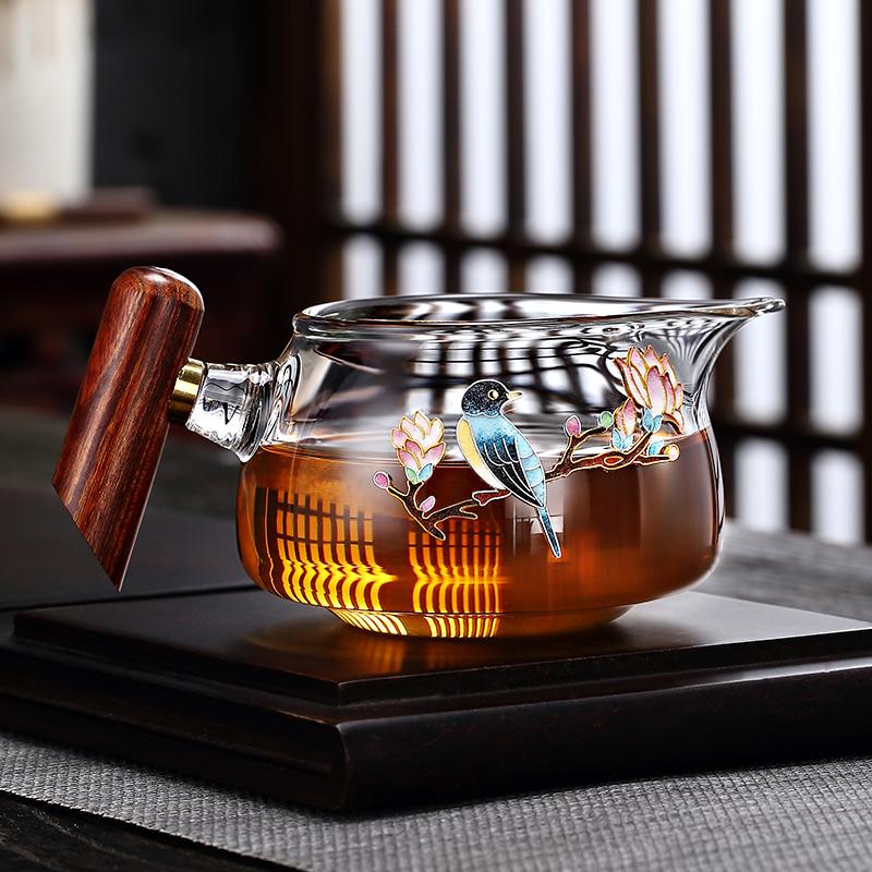 Morning high pure hand-made Jingtai blue fairway cup glass high-grade kung fu tea accessories tea splitter pour tea cup heat-resistant