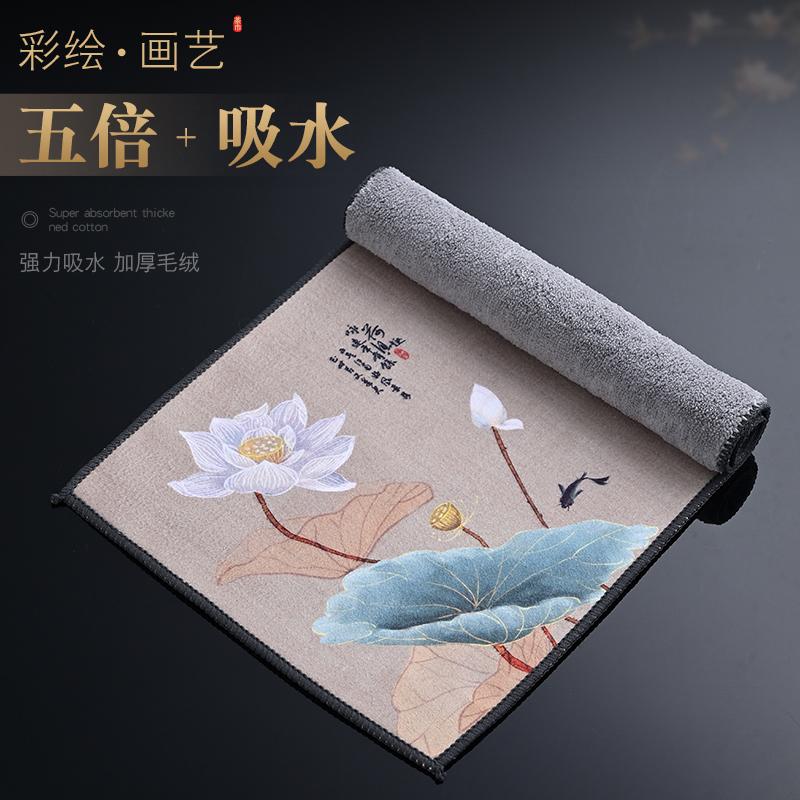 Morning high high-grade plush water-absorbing tea towel painted Zen towel tea cloth special tea table cloth pot wipes