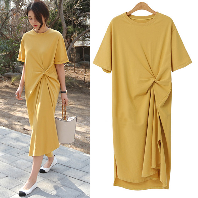 Large size womens 2021 summer new foreign air loose fat mm thin dress age over the knee long dress 200 pounds