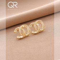Starry micro-set 18K electroplated real gold earrings 2021 new fashion high sense light luxury earrings women sterling silver jewelry