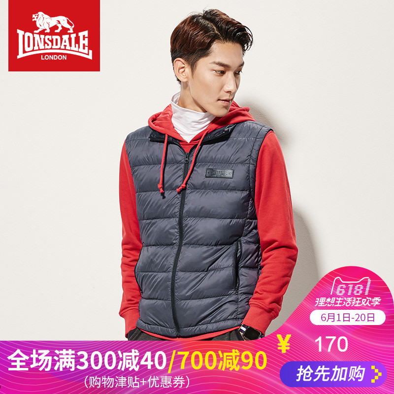 Dragon Lion Dale autumn and winter warm down vest men's collar 90% velvet men's sports vest down jacket