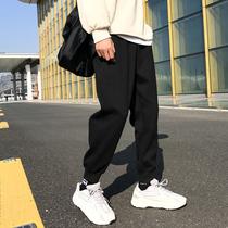 Pantalon homme automne et hiver tendance printemps et automne legging lâche pantalon de sport doublé de polaire pantalon de survêtement dautomne pantalon décontracté tout assorti