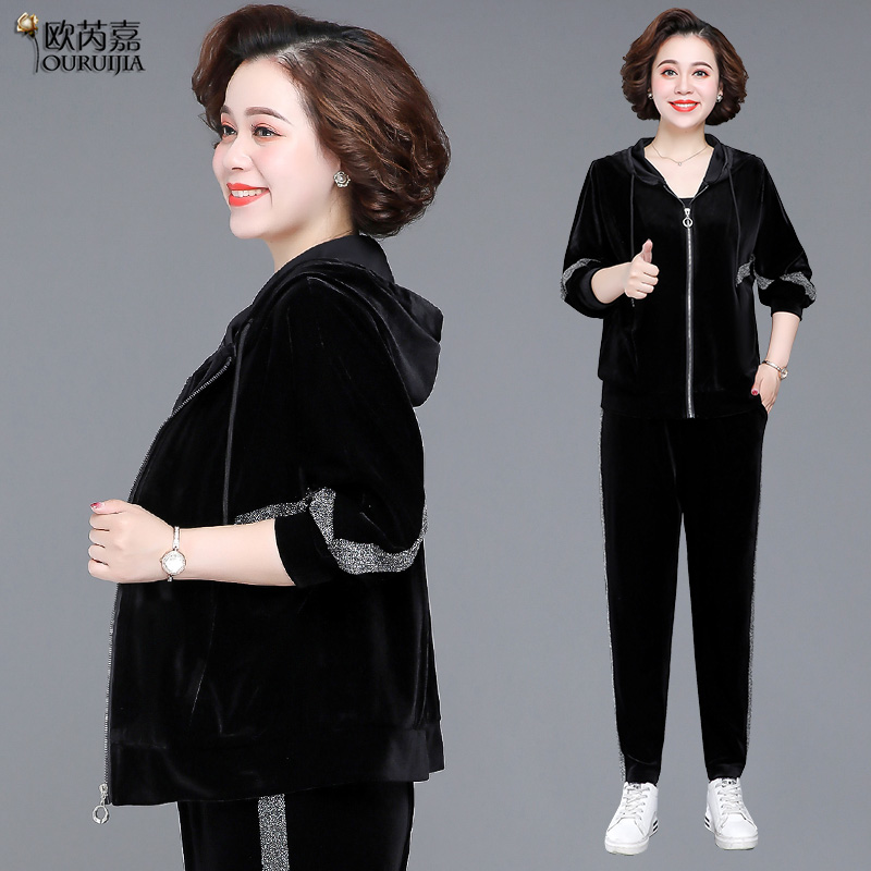 Mom spring dress gold velvet sports suit women 2021 new middle-aged spring and autumn coat yang pie middle-aged two-piece set