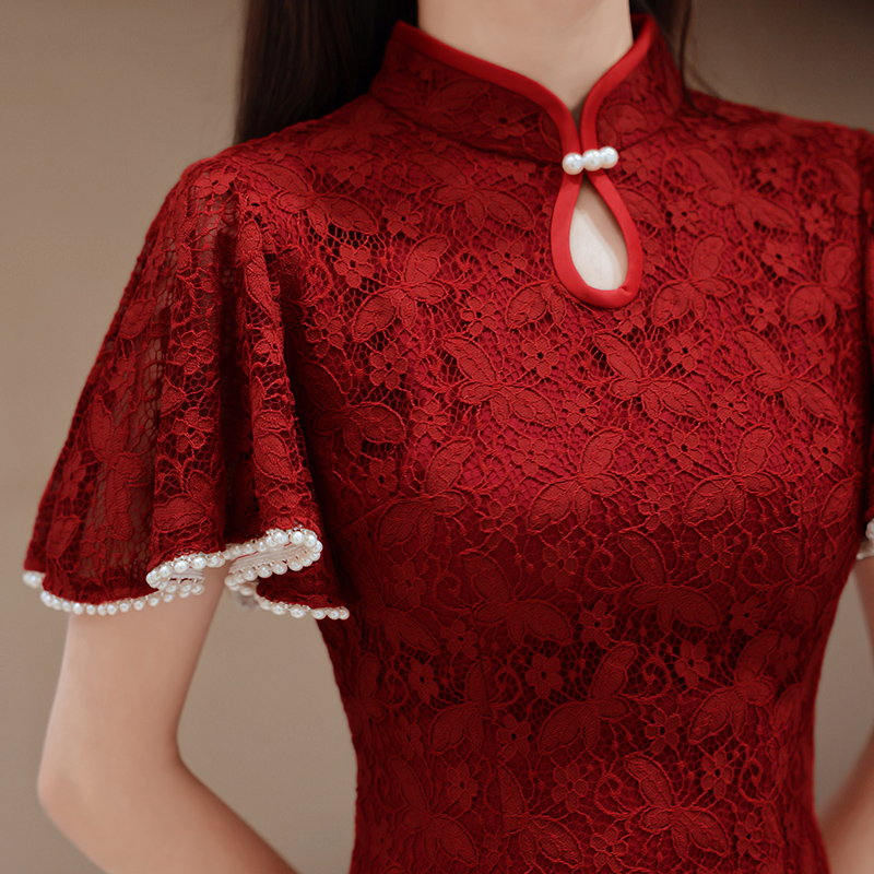Qipao toast dress bride 2021 new summer usually can wear wedding engagement back door dress female lace slim