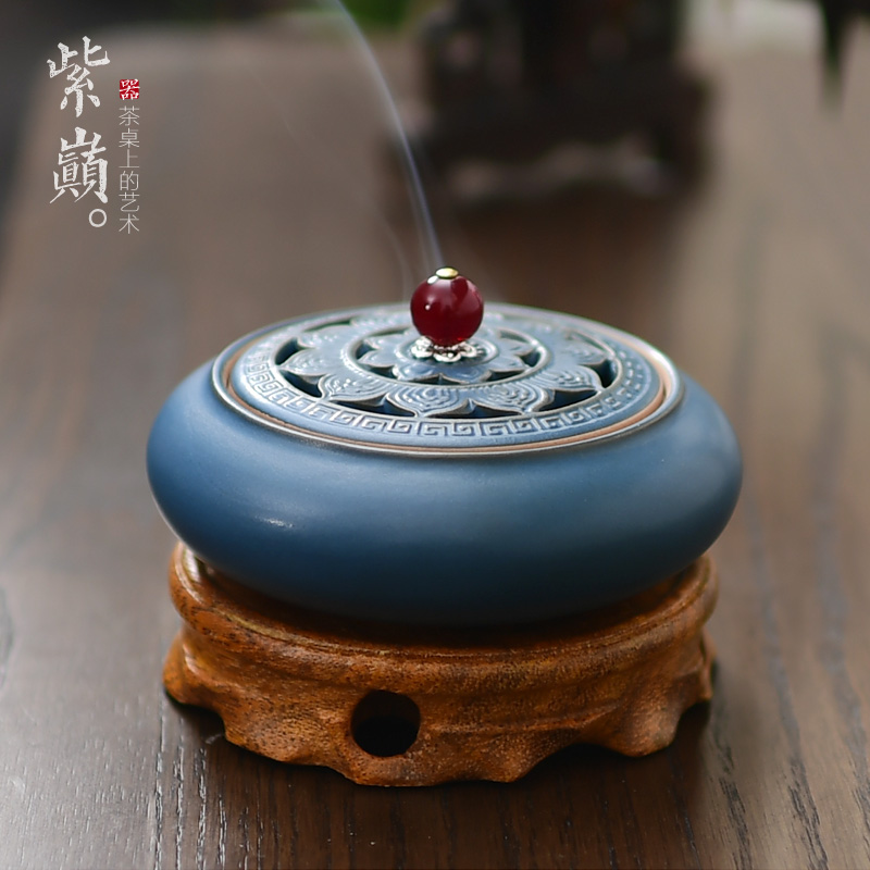 Sandalwood Furnace Ancient Ceramic Household Purified Air Fumigation Furnace for Buddhist Creative Tea Tao Aromatherapy Furnace