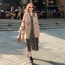 Khat-colored windcoat womens middle-length small 2020 new popular loose Korean version of the short mid-length coat jacket