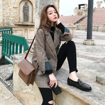 Checked suit jacket female spring autumn 2021 new Korean version of the British wind retro net red fried street small suit top