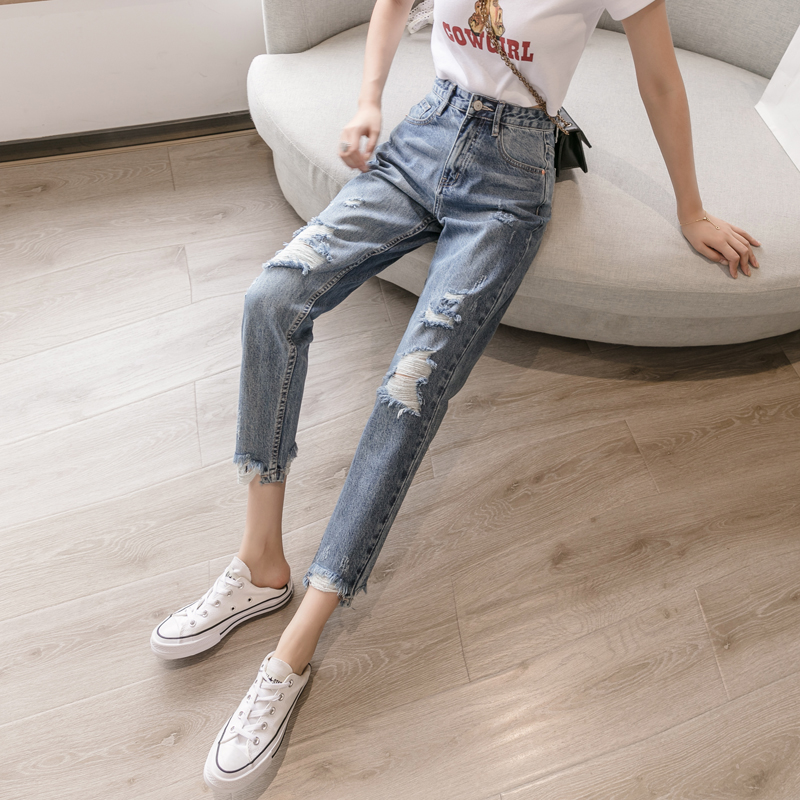 Ripped jeans womens small ins trendy summer high waist thin feet 2021 new straight nine-point pants