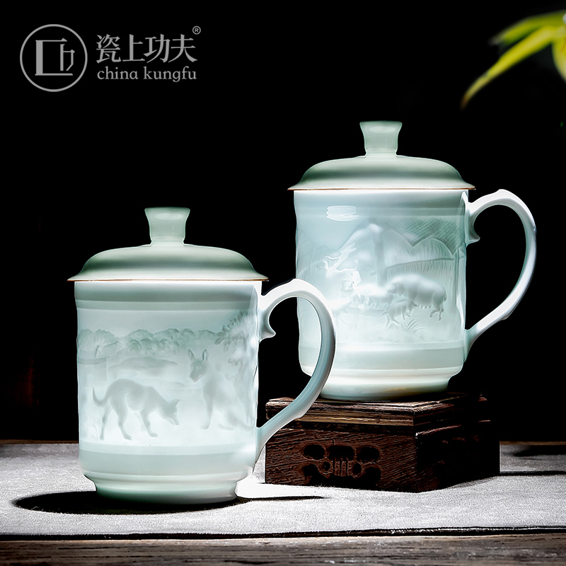 Jingdezhen ceramic engraving office cup custom with covered tea cup twelve zodiac gift teacule conference cup