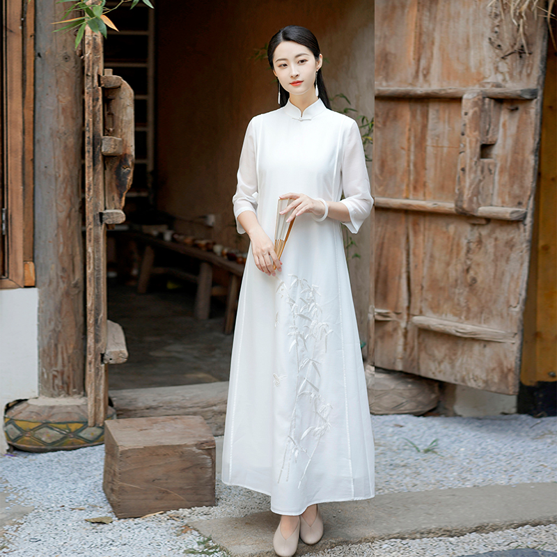 Early cicada Chinese womens clothing 2021 spring summer Chinese style long elegant retro temperament high-end high-end high-end cheongsam dress