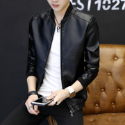 Men's coats fall 2017 new trend of Korean men's casual clothes and slim handsome male leather jacket