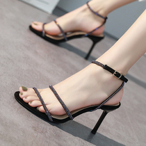 Word 2019 new sandals women Europe and the United States sexy summer with open toe diamond fashion Joker red high heels