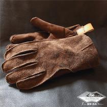 Медвежья коготь матовый первый слой телячьей кожи Натуральная кожа открытый инструмент езда спорт тепло сделать старые старинные флип перчатки