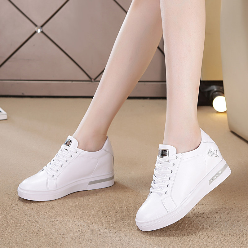 2018 autumn and winter new height increase women's shoes single casual shoes wedge with small white shoes fashion plus velvet travel sneakers