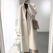 Winter beige thick-haired cashmere double-sided cashmere coat womens 2020 new medium-length version of the jacket