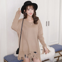 Irregular Korean version v-neck loose-fringed pullover